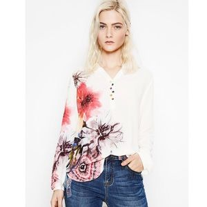 Desigual white long-sleeve butterfly floral shirt